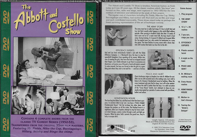 """The Abbott and Costello Show"" DVD Vol. #410"