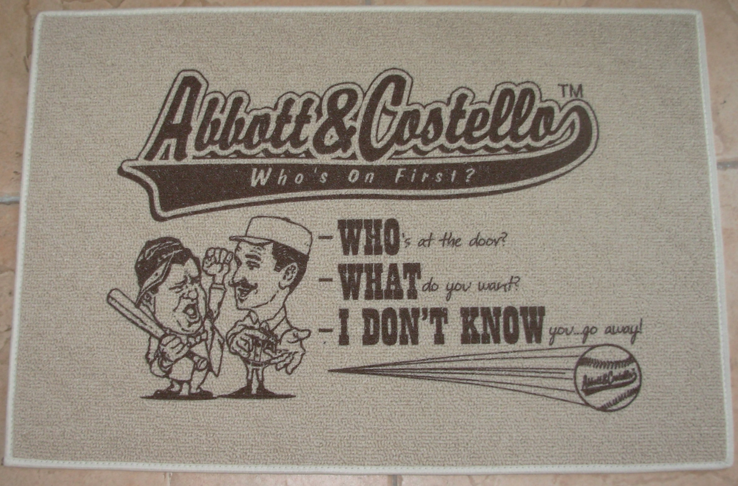 Abbott & Costello Who's On First? Door Mat