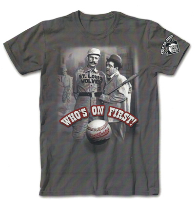 "GREY ""Who's On First?"" Tee (with 'Scan Me' on sleeve)"