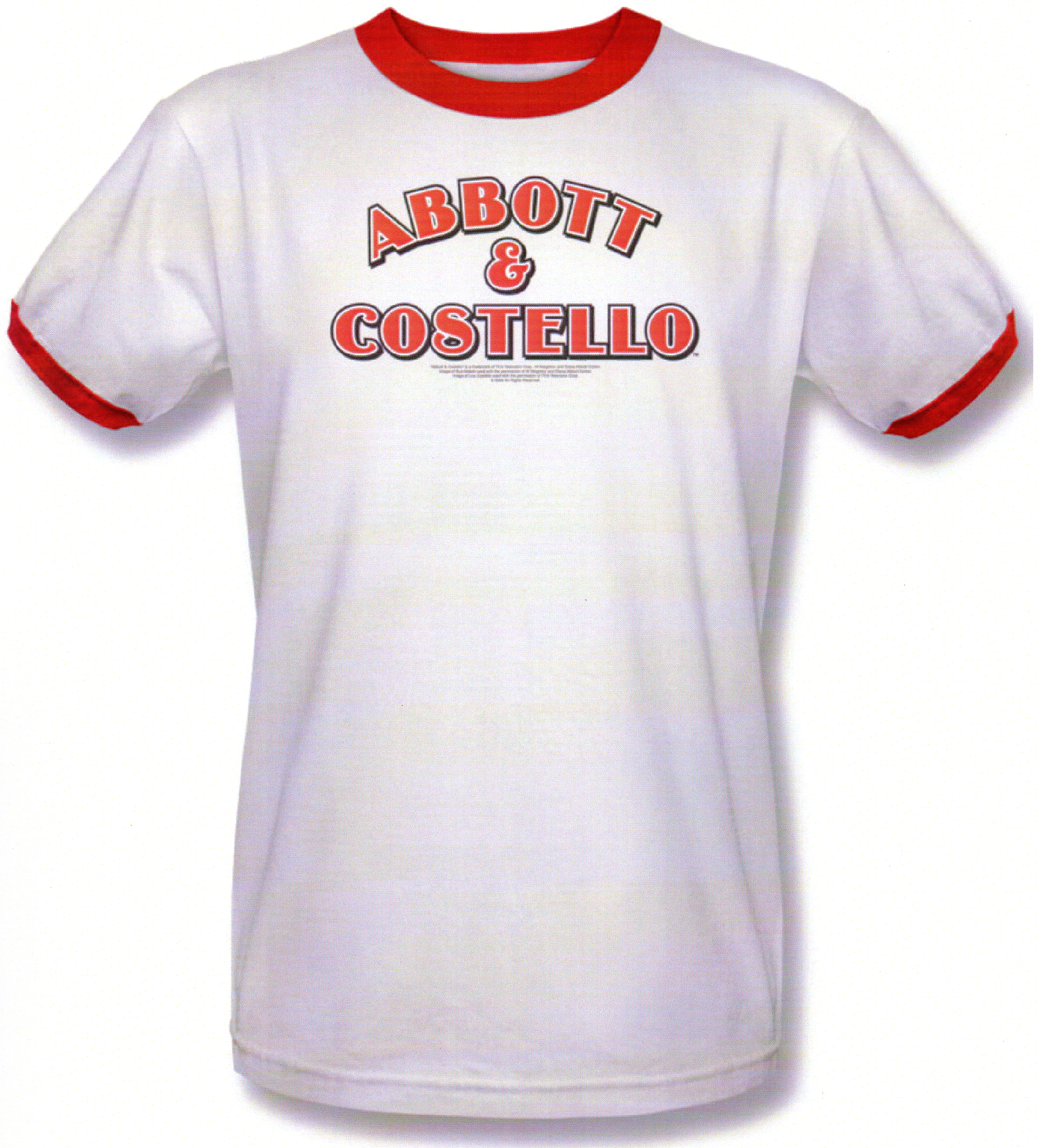 Abbott & Costello White With Red Piping Short Sleeve Tee